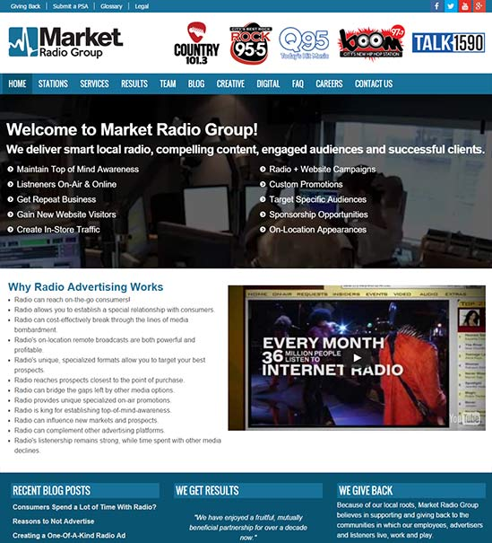 Market Radio Station Website by Skyrocket Radio